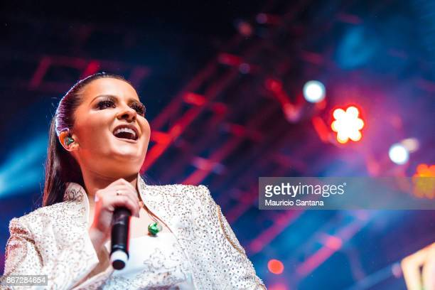 Oct 27: Maraisa member of the duo Maiara and Maraisa performs live on stage at Citibank Hall on October 27, 2017 in Sao Paulo, Brazil.