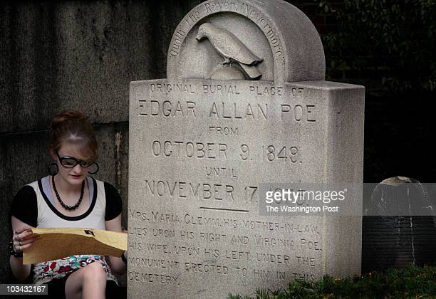 maram 193370 Kaitlin Whitt from Hyco West Virginia reads the poem The Raven by Poe's grave at Westminster Presbyterian Church cemetary Sam Porpora a...