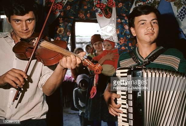 Maramures Romania Gypsies playing traditional music