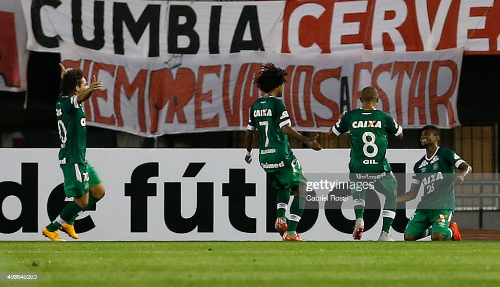 Maranhao of Chapecoense and teammates celebrate their team's first goal during a match between River Plate and Chapecoense as part of Quarter Finals of Copa Sudamericana 2015 at Monumental Antonio Vespucio Liberti Stadium on October 21, 2015 in Buenos Aires, Argentina.