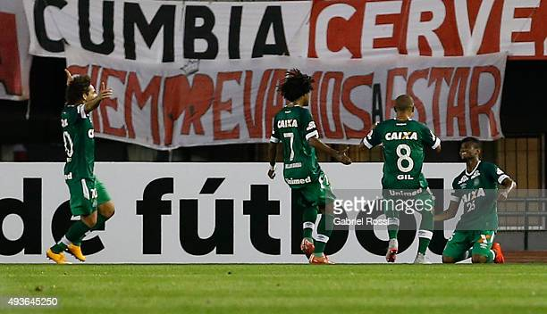Maranhao of Chapecoense and teammates celebrate their team's first goal during a match between River Plate and Chapecoense as part of Quarter Finals...