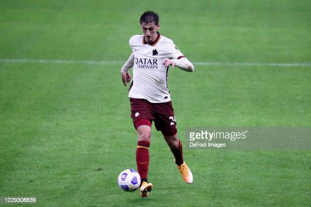 Marash Kumbulla of AS Roma controls the ball during the Serie A match between AC Milan and AS Roma at Stadio Giuseppe Meazza on October 26 2020 in...