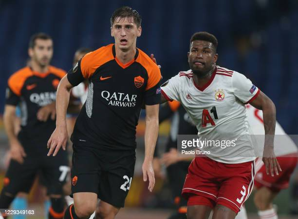 Marash Kumbulla of AS Roma in action with Younousse Sankhare of CSKA-Sofia during the UEFA Europa League Group A stage match between AS Roma and...