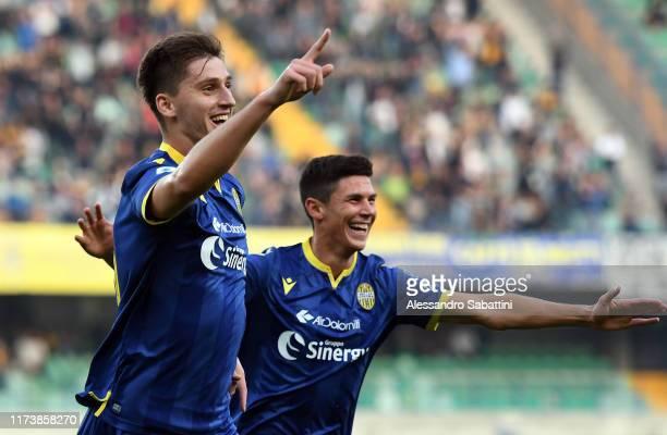Marash Kumbulla of Hellas Verona celebrates after scoring the opening goal during the Serie A match between Hellas Verona and UC Sampdoria at Stadio...