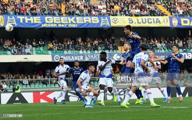 Marash Kumbulla of Hellas Verona scores the opening goal during the Serie A match between Hellas Verona and UC Sampdoria at Stadio Marcantonio...