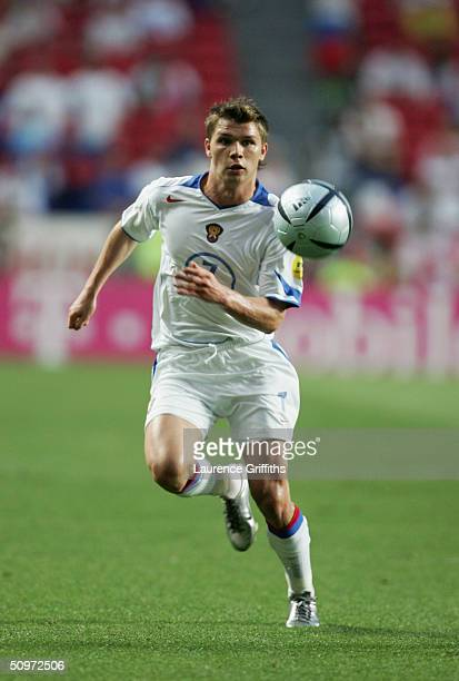 Marat Izmailov of Russia in action during the UEFA Euro 2004 Group A match between Russia and Portugal at the Luz Stadium on June 16 2004 in Lisbon...
