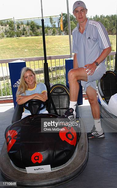 Marat Saffin is joined by Australian tv celebrity Sophie Faulkner at the launch of his new Adidas shoe line on the second day of the Adidas...