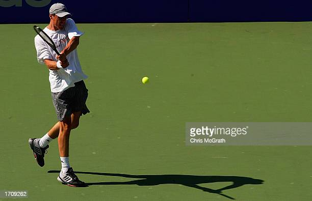 Marat Saffin of Russia in action during practice prior to the start of the Adidas International tennis tournament at the Sydney International Tennis...