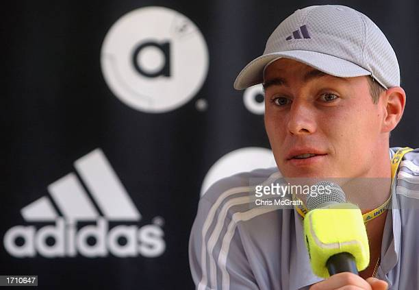 Marat Saffin speaks to media at the launch of his new Adidas shoe line on the second day of the Adidas International tennis tournament at the Sydney...