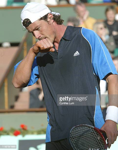 Marat Safin during his fourth round match against Tommy Robredo at the 2005 French Open at Roland Garros in Paris France on May 30 2005