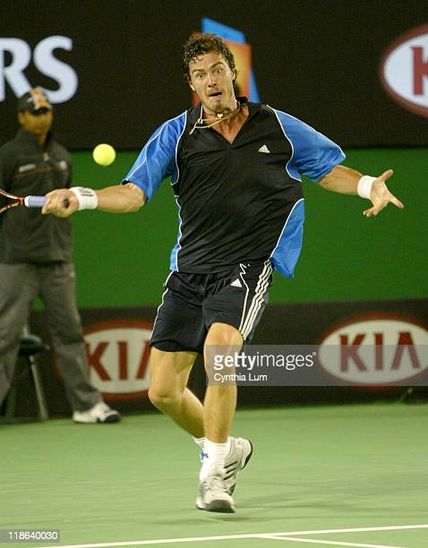 Marat Safin in Action during Men's 2005 Australian Open Men's Singles Final vs Lleyton Hewitt Safin won 16 63 64 64