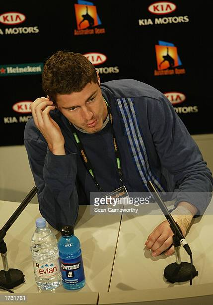 Marat Safin of Russia announces his withdrawal with a wrist injury from the Australian Open Tennis Championships at Melbourne Park in Melbourne...