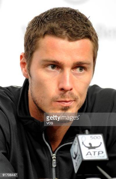 Marat Safin of Russia attends a Post-match press conference after his match against Rafael Nadal of Spain on day eight of the 2009 China Open on...