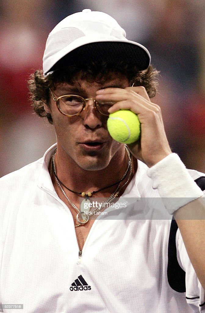 Marat Safin of Russia clowns around during the ATP All-Star Rally for Relief at the Pacific Life Open at the Indian Wells Tennis Garden on March 11, 2005 in Indian Wells, California.