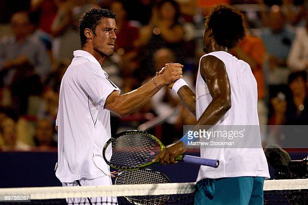 Marat Safin of Russia congratulates Gael Monfils of France after their match during the Rogers Cup at Uniprix Stadium on August 10, 2009 in Montreal,...