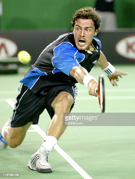 Marat Safin of Russia during his 2005 Australian Open Semi Final match against Roger Federer of Switzerland Safin won an epic match 57 64 57 76 97