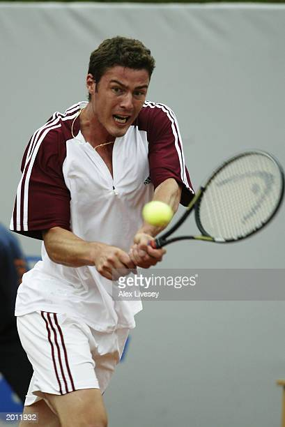 Marat Safin of Russia hits a backhand return during the semifinals of the ATP Seat Open held on April 26 2003 at the Real Club de Tenis in Barcelona...