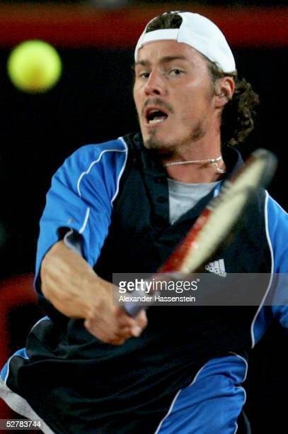 Marat Safin of Russia in action during his match against Alberto Martin of Spain during the Masters Series Hamburg at Rothenbaum on May 10 2005 in...