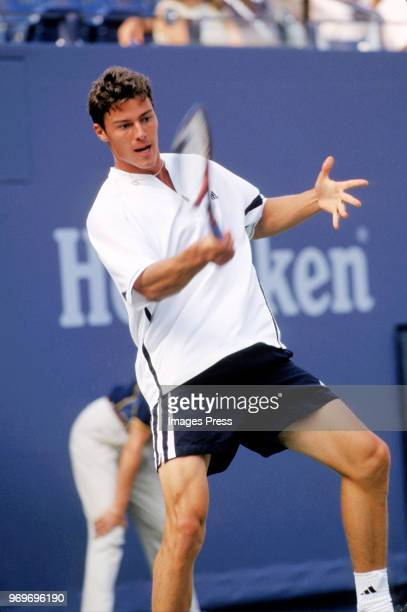 Marat Safin plays tennis during the 2000 US Open in New York City
