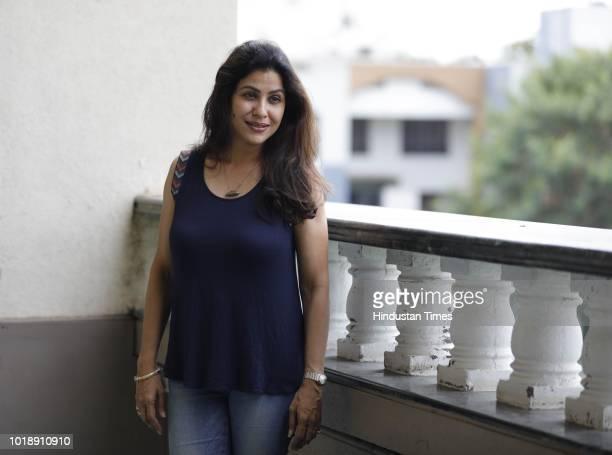 Marathi actor Irawati Harshe during promotion of Marathi Movie Take Care Goodnight at PYC Gym Khana on August 17 2018 in Pune India