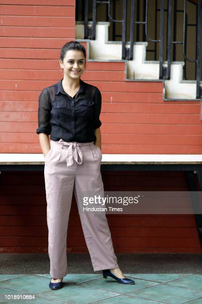Marathi actor Parna Pethe during promotion of Marathi Movie Take Care Goodnight at PYC Gym Khana on August 17 2018 in Pune India