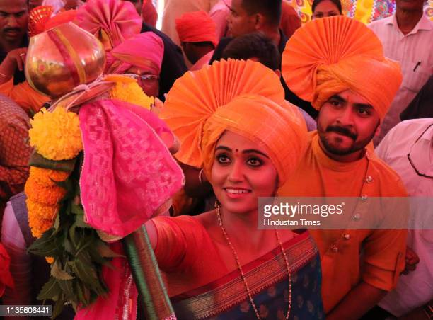 Marathi actor Rinku Rajguru or known as Archi takes part in the procession to celebrate the Marathi New Year, 'Gudi Padwa', at Dadar, on April 6,...