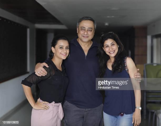 Marathi actors Parna Pethe Sachin Khedekar and Irawati Harshe during promotion of Marathi Movie Take Care Goodnight at PYC Gym Khana on August 17...
