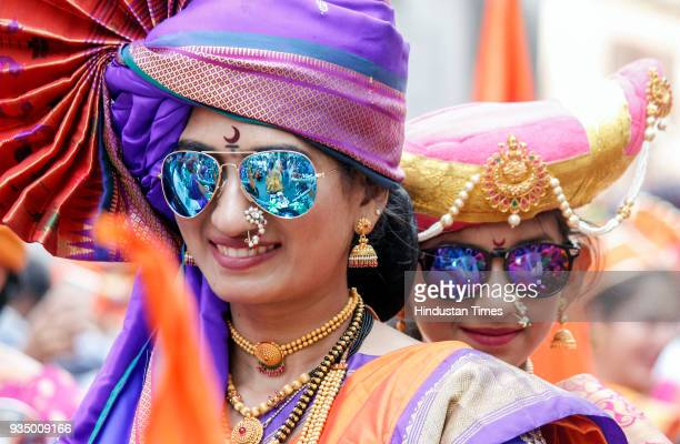 Marathi People celebrate Gudi Padwa which is considered as New Year for them at Girgaon on March 18 2018 in Mumbai India