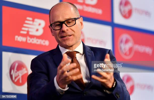 Marathon Event Director Hugh Brasher speaks during a Press Conference ahead of the Virgin Money London Marathon on April 17 2018 in London England