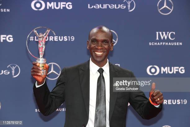 Marathon runner Eliud Kipchoge winner of the Laureus Academy Exceptional Award 2019 during the Laureus World Sports Awards 2019 at Monte Carlo...