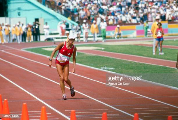 Marathon runner Gabriela Andersen-Schiess of Switzerland limped around the track to finish 37th in the Women's marathon during the Games of the XXIII...