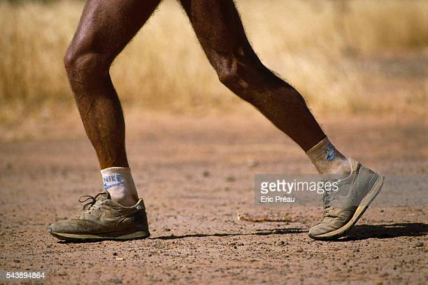 Marathon runner Gerard Vacher and his wife Sylvie on a 5000kilometer bike journey from Alger Algeria to Abidjan Ivory Cost Gerard takes off on foot