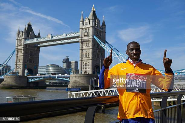 Marathon runner Kenya's Stanley Biwott poses for a photograph near Tower Bridge in central London on April 20 2016 during a photo call ahead of the...