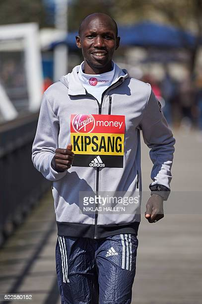 Marathon runner Kenya's Wilson Kipsang poses for a photograph near Tower Bridge in central London on April 20 2016 during a photo call ahead of the...