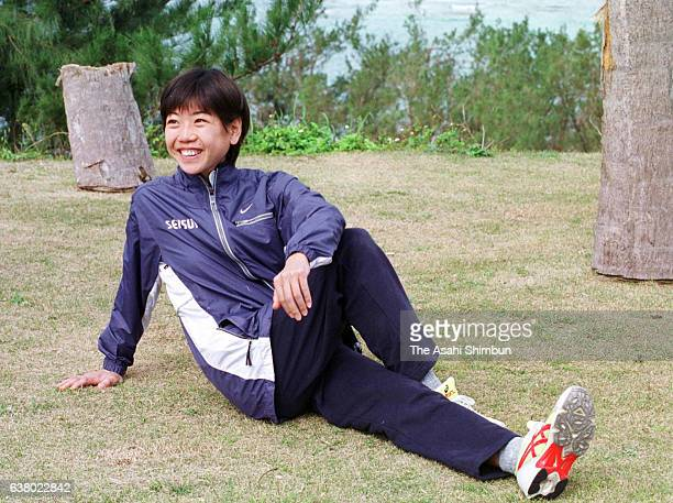 Marathon runner Naoko Takahashi warms up during a training session on February 10 2000 in Tokunoshima Kagoshima Japan