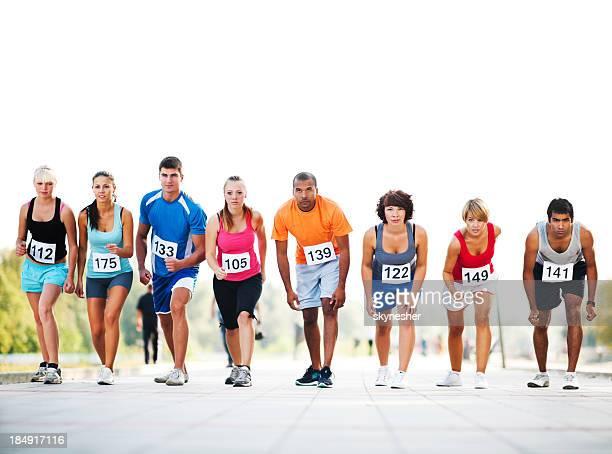 Marathon coureurs sur la ligne de départ