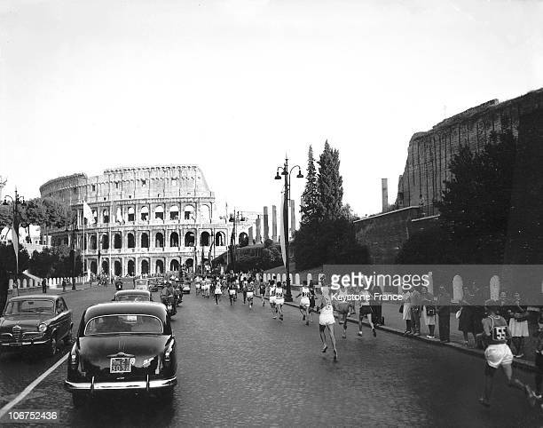 Marathon Runners Heading Towards The Colosseum During The Olympic Games September 11 1960 The Three Finalists Are Gold Medalist Abebe Bikila Silver...