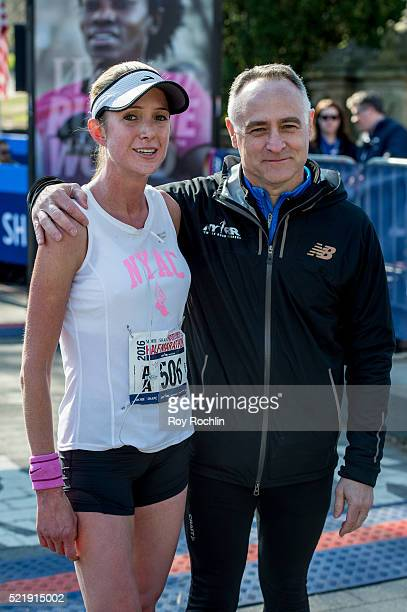 Marathon winner Caroline LeFrak with President and C.E.O. Of New York Road Runners Michael Capiraso after she crossed the fiinsh line during the 13th...