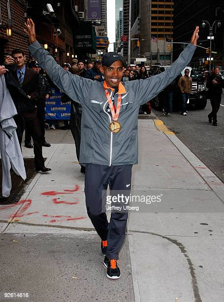 Marathon winner Meb Keflezighi visits Late Show with David Letterman at the Ed Sullivan Theater on November 2 2009 in New York City