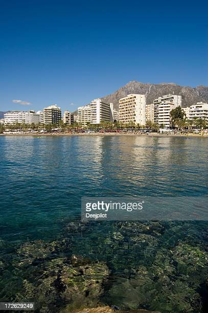 marbella beach front looking in from the sea. - marbella stock pictures, royalty-free photos & images
