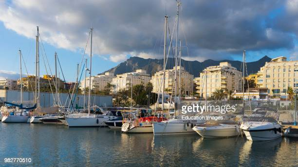 Marbella, Costa del Sol, Malaga Province, Andalusia, southern Spain. Yachts in Puerto Deportivo Marina la Bajadilla.