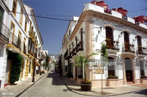 Marbella, Malaga Wide street in old part of Marbella town in sun coast.