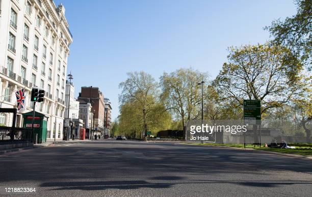 Marble Arch at the beginning of Park Lane is seen empty on April 14, 2020 in London, United Kingdom. The Coronavirus pandemic has spread to many...