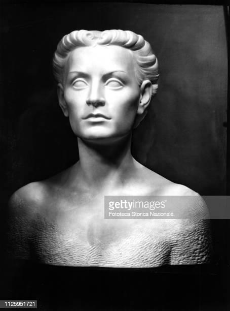Marble bust by the florentine sculptor Corrado Vigni of Edda Mussolini Ciano the eldest daughter of Benito Mussolini and Rachele Guidi countess...