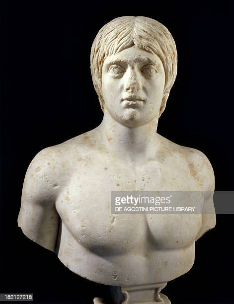 Marble bust of a young man artefact uncovered in Gediz Turkey Roman Civilisation 3rd century Istanbul Arkeoloji Muzerleri