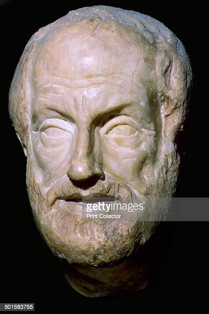 A marble bust of Aristotle a Greek Philsopher from the Louvre's collection 4th century BC