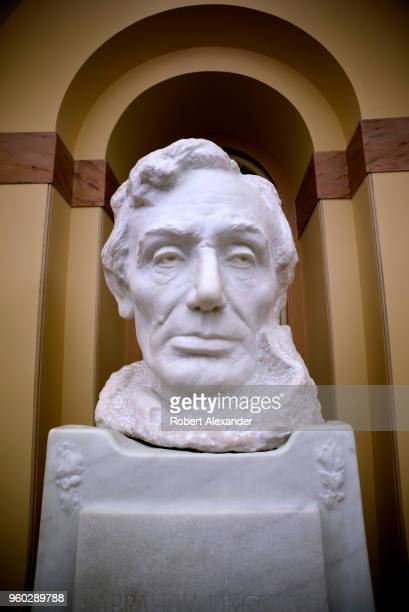 A marble bust of former US President Abraham Lincoln by sculptor Gutzon Borglum in the US Capitol Building in Washington DC