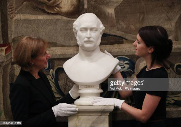 A marble bust of Prince Albert by William Theed during a preview of the Prince amp Patron exhibition in the Ball Supper Room at Buckingham Palace...