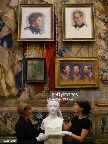 A marble bust of Queen Victoria by John Gibson during a preview of the Prince amp Patron exhibition in the Ball Supper Room at Buckingham Palace...