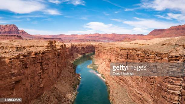 page, usa - april 17, 2019: marble canyon bridge and colorado river near page arizona - category:grand_canyon_national_park stock pictures, royalty-free photos & images